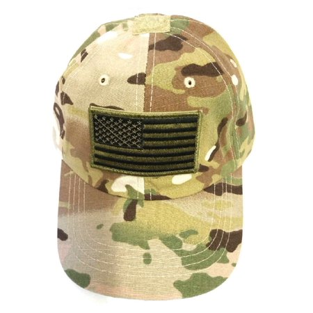 (Kids Multicam Camouflage Ball Cap with Olive Drab American Flag)