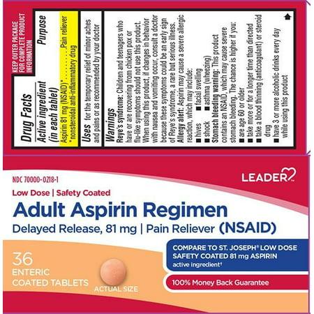 Leader Adult Aspirin Regimen Enteric Coated Tabs, 36ct 096295130805A108 ()