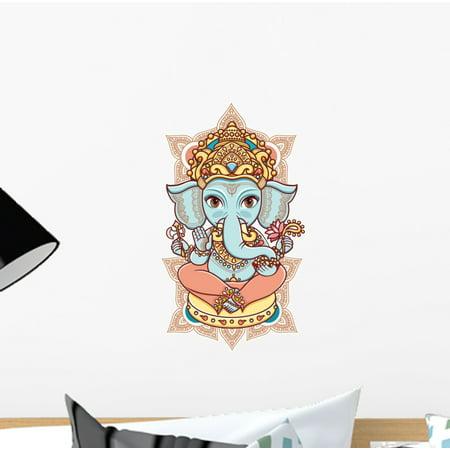 Elephant God Lord Ganesh Wall Decal Wallmonkeys Peel and Stick Animal Graphics (12 in H x 12 in W) WM503025