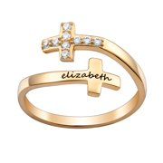 Personalized Women's Sterling Silver or Gold over Sterling Engraved Name Double Cross Ring with Crystals
