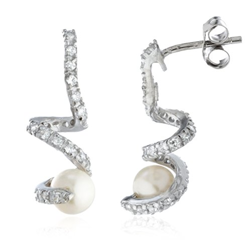 Real 925 Sterling Silver Imitation Pearl with Siwrled Cz Stones Stud Earrings