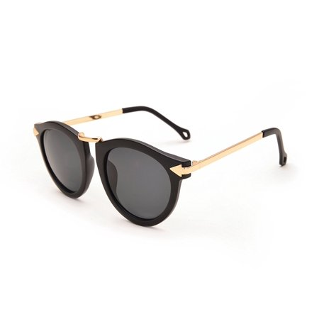 Round Sunglasses Arrow Leopard Gold Frame Brown Lens Sunglasses Unisex