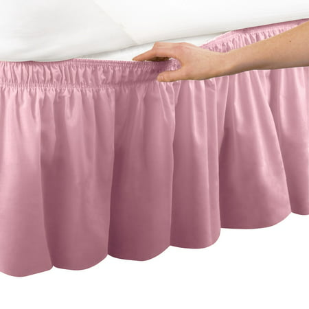 wrap around bed skirt, easy fit elastic dust ruffle, queen/king, sage