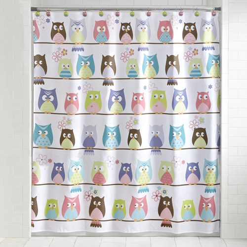 Mainstays Whooty Hoot Shower Curtain and Hook Set