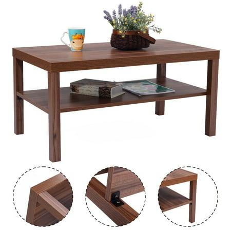 Costway Wood Coffee End Table Rectangular Modern Living Room Furniture W Storage Shelf