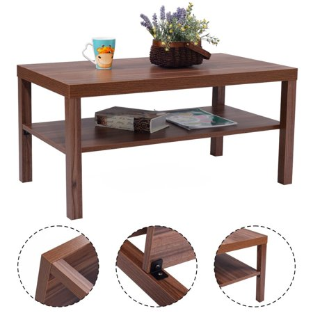 Costway Wood Coffee End Table Rectangular Modern Living Room Furniture W Storage Shelf
