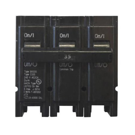 Eaton BR335 Plug-On Mount Type BR Circuit Breaker 3-Pole 35 Amp 240 Volt AC