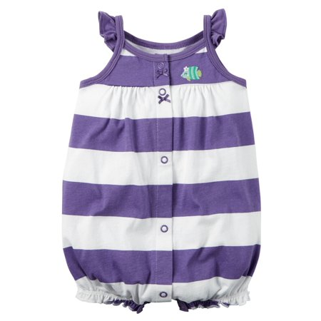 Carters Baby Clothing Outfit Girls Snap-Front Striped Romper Fish Art Purple