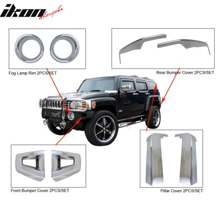 Fit 06-09 Hummer H3 Chrome Front & Rear Bumper Pillar Cover Fog Lamp Rim 8PC Kit