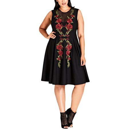City Chic Womens Plus Floral Party Cocktail Dress - Spandex Suit Party City