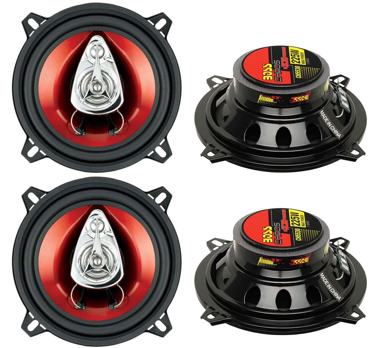 "4) New BOSS CH5530 5.25"" 3-Way 450W Car Audio Coaxial Speakers Stereo Red"