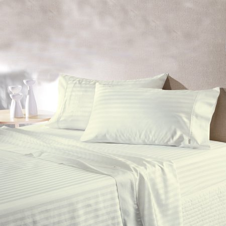 MISR Linen 4PCs Sheet Set Egyptian Cotton 400 Thread Count Stripe Collection 15 Inches Pocket ()
