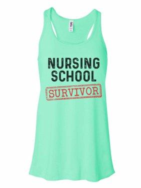 "Women's Tank Top Bella Soft ""Nursing School Survivor"" - Funny Threadz Large, Mint"