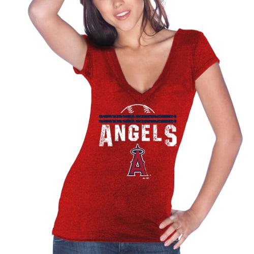 Los Angeles Angels Majestic Threads Women's Varsity Tri-Blend V-Neck T-Shirt - Red