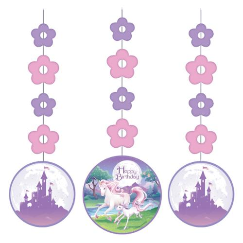 Club Pack of 18 Pink and Purple Unicorn Fantasy Hanging Decoration