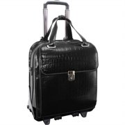"""siamod, monterosso, novembre, embossed crocco leather, 15"""" leather ladiesvertical patented detachable -wheeled laptop briefcase, black (35325)"""