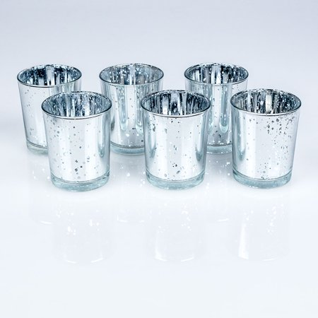 Fantado Mercury Glass Votive Tea Light Candle Holder - Silver (2.5 Inches) (6 Pack) by PaperLanternStore ()