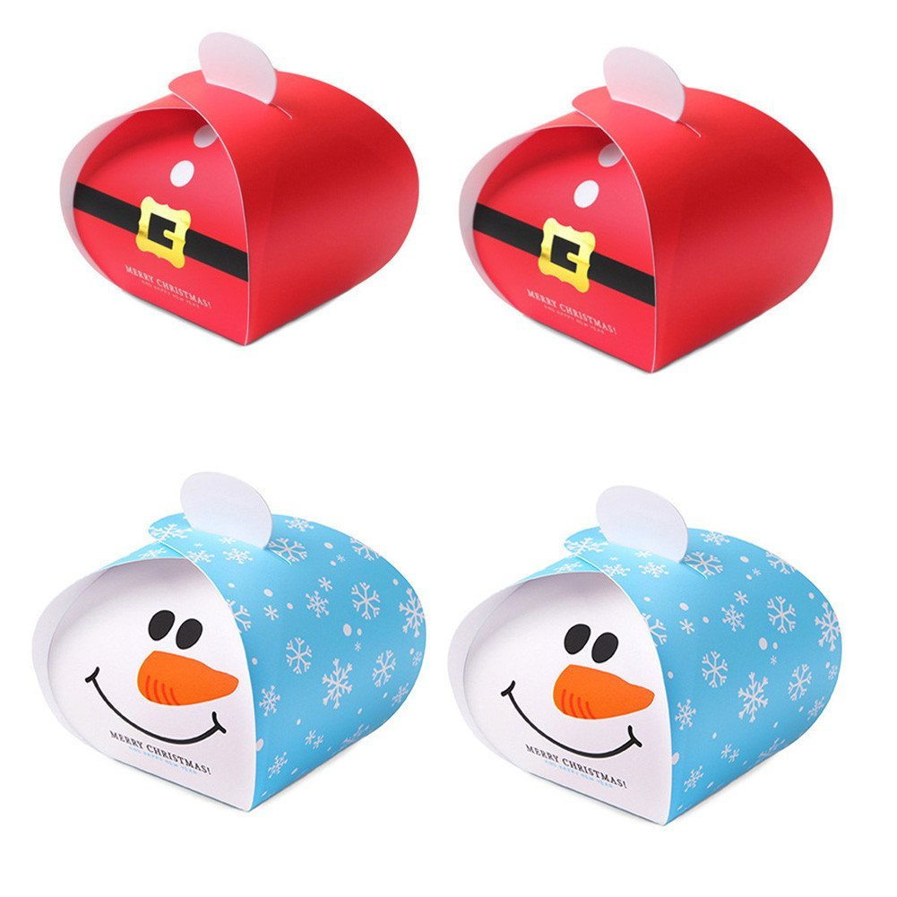 1 Dozen Christmas Cardboard Treat Boxes - Snowman Red Cloth Christmas Gift Party Favor Boxes