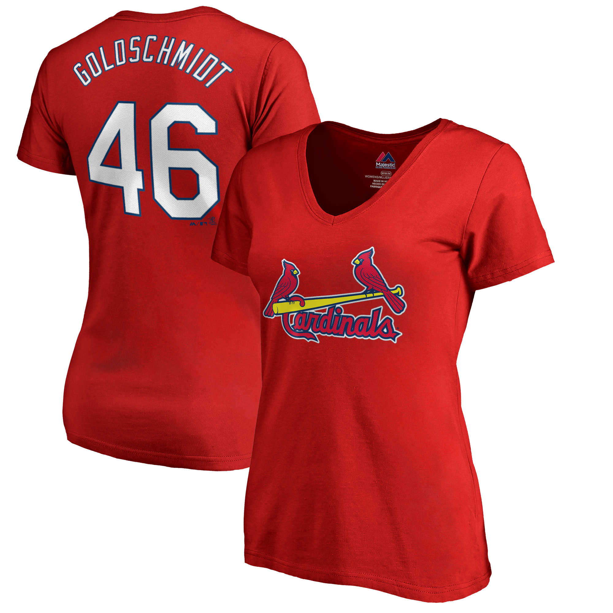 Paul Goldschmidt St. Louis Cardinals Majestic Women's Name & Number V-Neck T-Shirt - Red