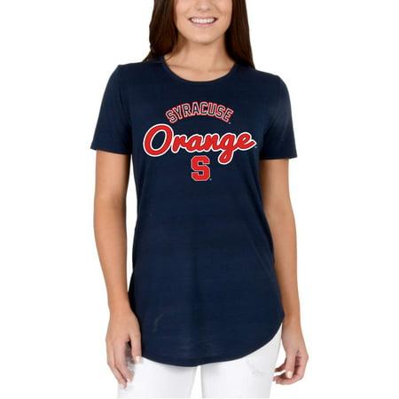 Women's Navy Syracuse Orange Faux Stitch V-Neck T-Shirt