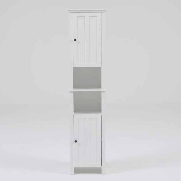 White Wood Tall Bathroom Cabinet Walmart Com Walmart Com