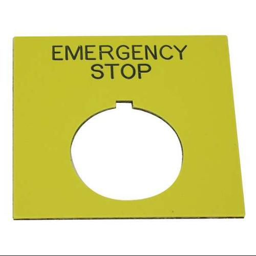 REES 09020-004 Legend Plate,Rectangular,Emergency Stop G9999342