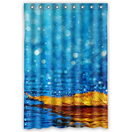 MOHome Golden Yellow Leaves Floating On Lake In Rain Shower Curtain Waterproof Polyester Fabric