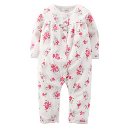 Carters Infant Girls White Floral Print Jumpsuit Coverall -