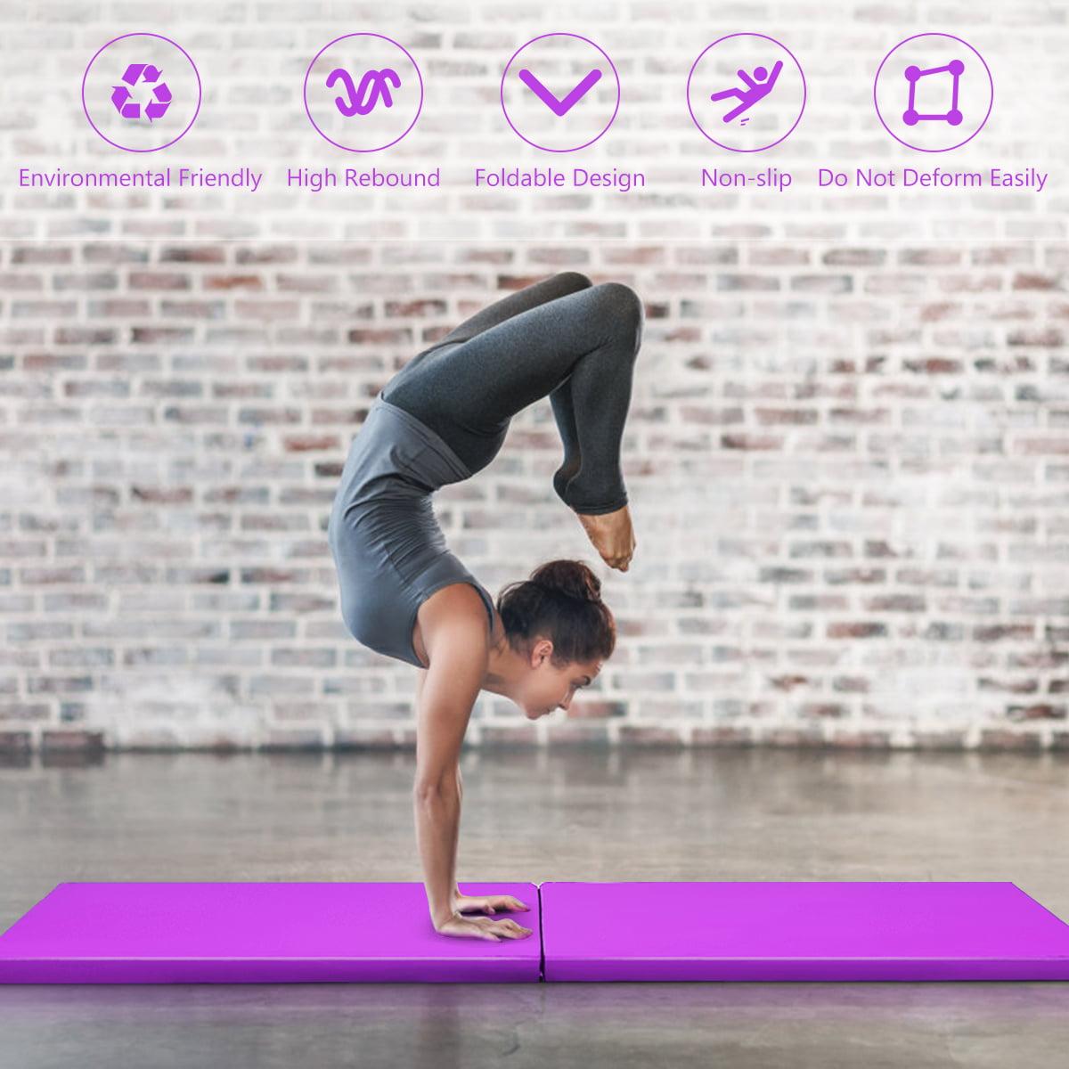 Yoga Home Gym Exercise Workout Mat Athletic Bar Gymnastics Mat Exercise Mat 2x6 Tri-Fold 2 Thick Folding Exercise Tumble Mat with 2 Carrying Handles for Gymnastics Aerobics Mixed Martial Arts