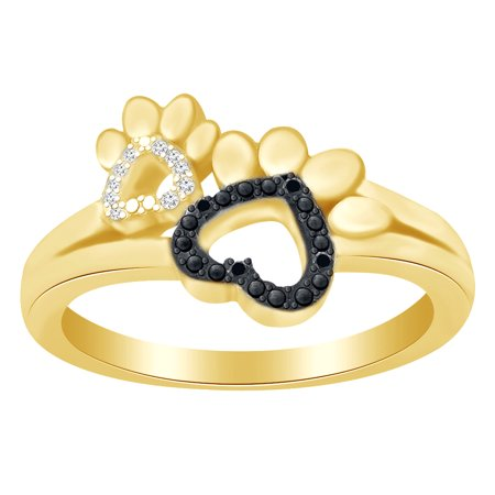 - Round Cut White & Black Diamond Paw Print Promise Ring In 14K Yellow Gold Over Sterling Silver