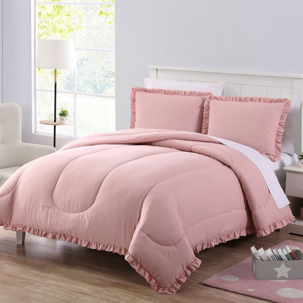 Mainstays Ruffle Edge Comforter Set Full Queen Blush Walmart