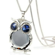 Tuscom Women Owl Pendant Diamond Sweater Chain Long Necklace Jewelry