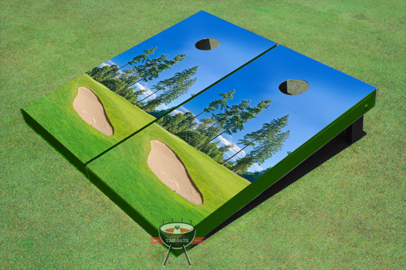 Golf Course Bunker Theme Cornhole Boards by All American Tailgate