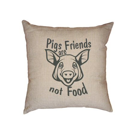 Trendy Pigs Are Friends Not Food Decorative Linen Throw Cushion Pillow Case with Insert