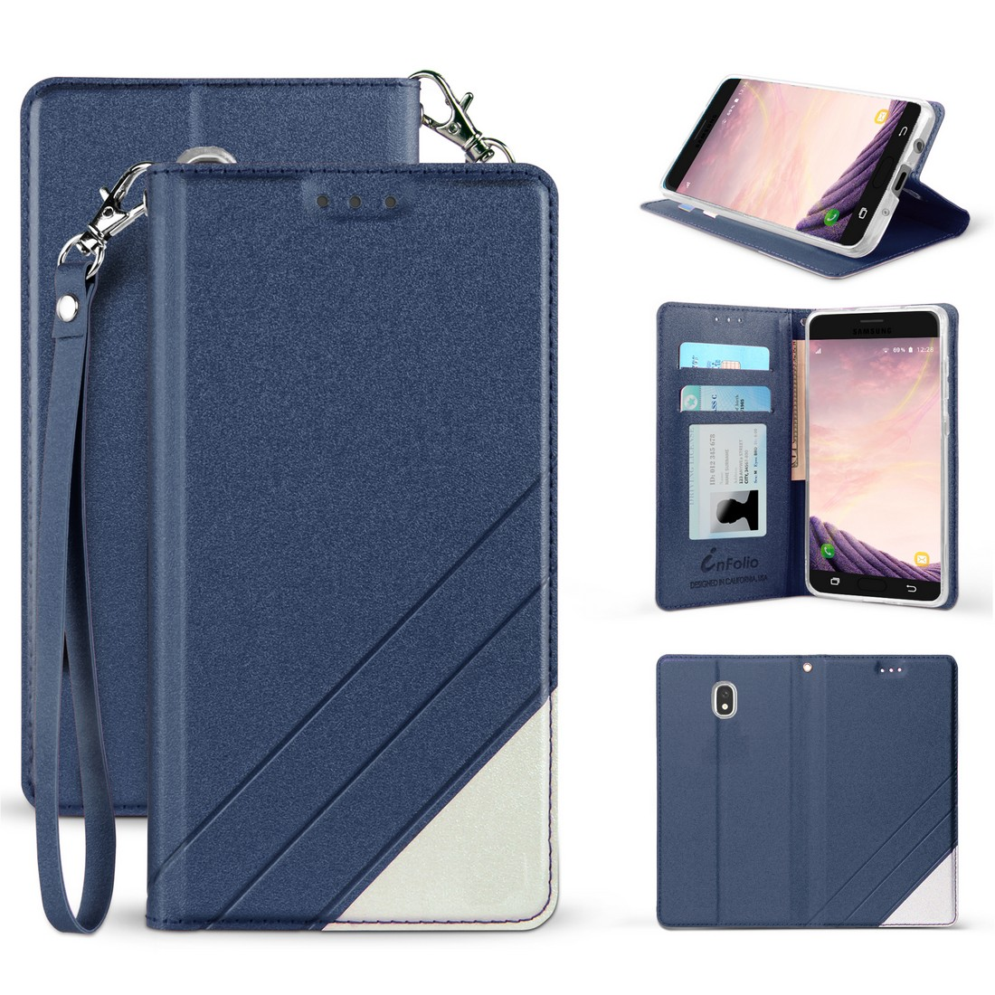 BC Synthetic PU Leather Magnetic Flip Cover Wallet Case and Atom Cloth for Samsung Galaxy J3 Star - Dark Blue