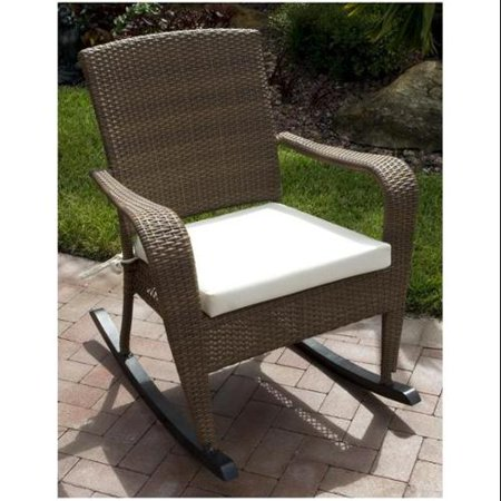 Grenada Patio Rocking Chair in Viro Fiber Antique Brown Finish (Canvas ...