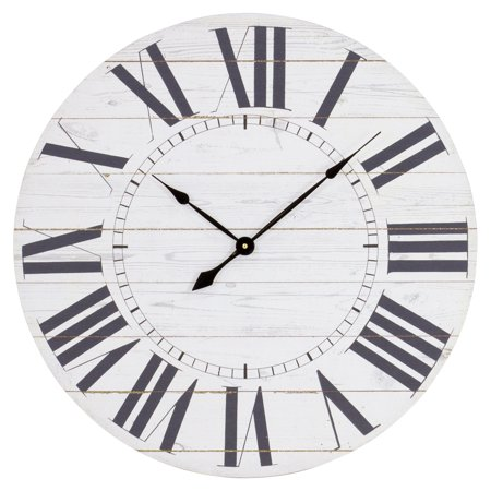 Aspire Home Accents Estelle French Country 23 in. Wall Clock with Shiplap