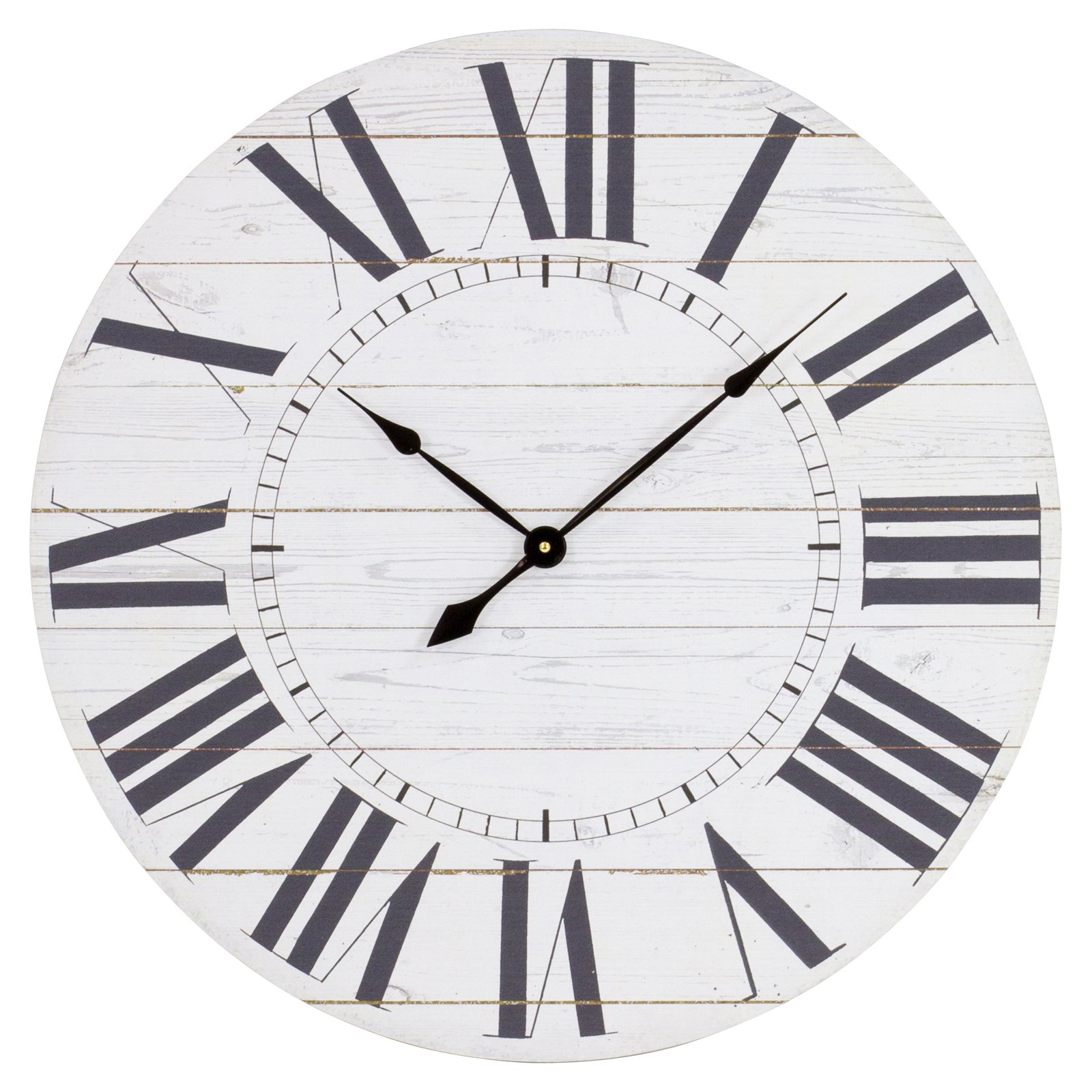 Aspire Home Accents Estelle French Country 23 in. Wall Clock with Shiplap Face