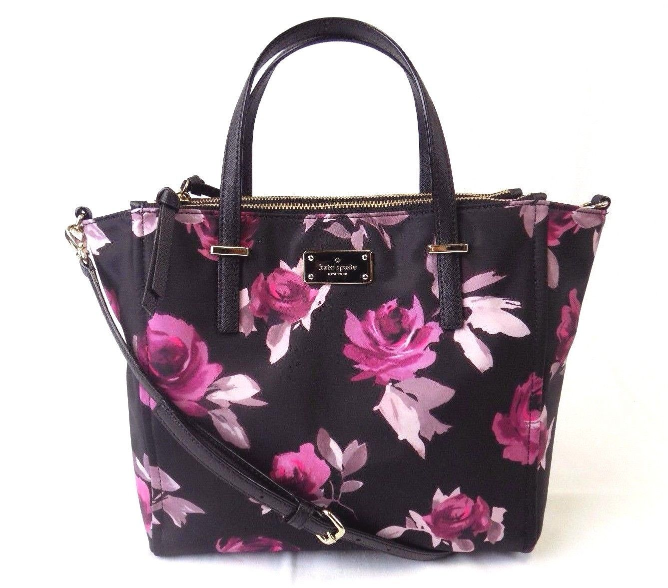 6e19cd3180 Kate Spade New York - NEW KATE SPADE ALYSE WILSON ROAD ROSE SYMPHONY TOTE  BLACK FLORAL BAG HANDBAG - Walmart.com