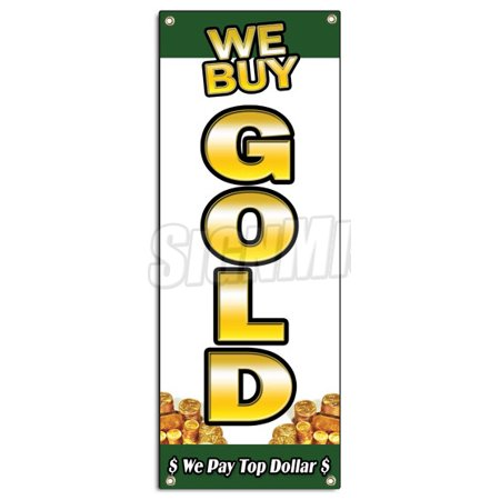 We Buy Gold Vertical 1 Banner Sign Pawn Jewelry Store Cash Silver Price