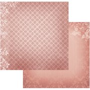 "Vintage Rose Garden Double-Sided Paper 12""X12""-Diamonds In Burgundy"