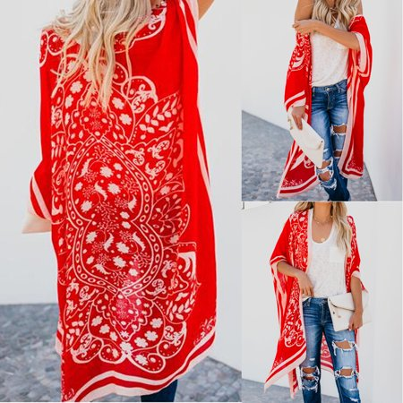 Women Tops New Women Floral Loose Kimono Cardigan Boho Beach Chiffon Tops Long Coat Blouse Red Size S - Red Pirate Coat