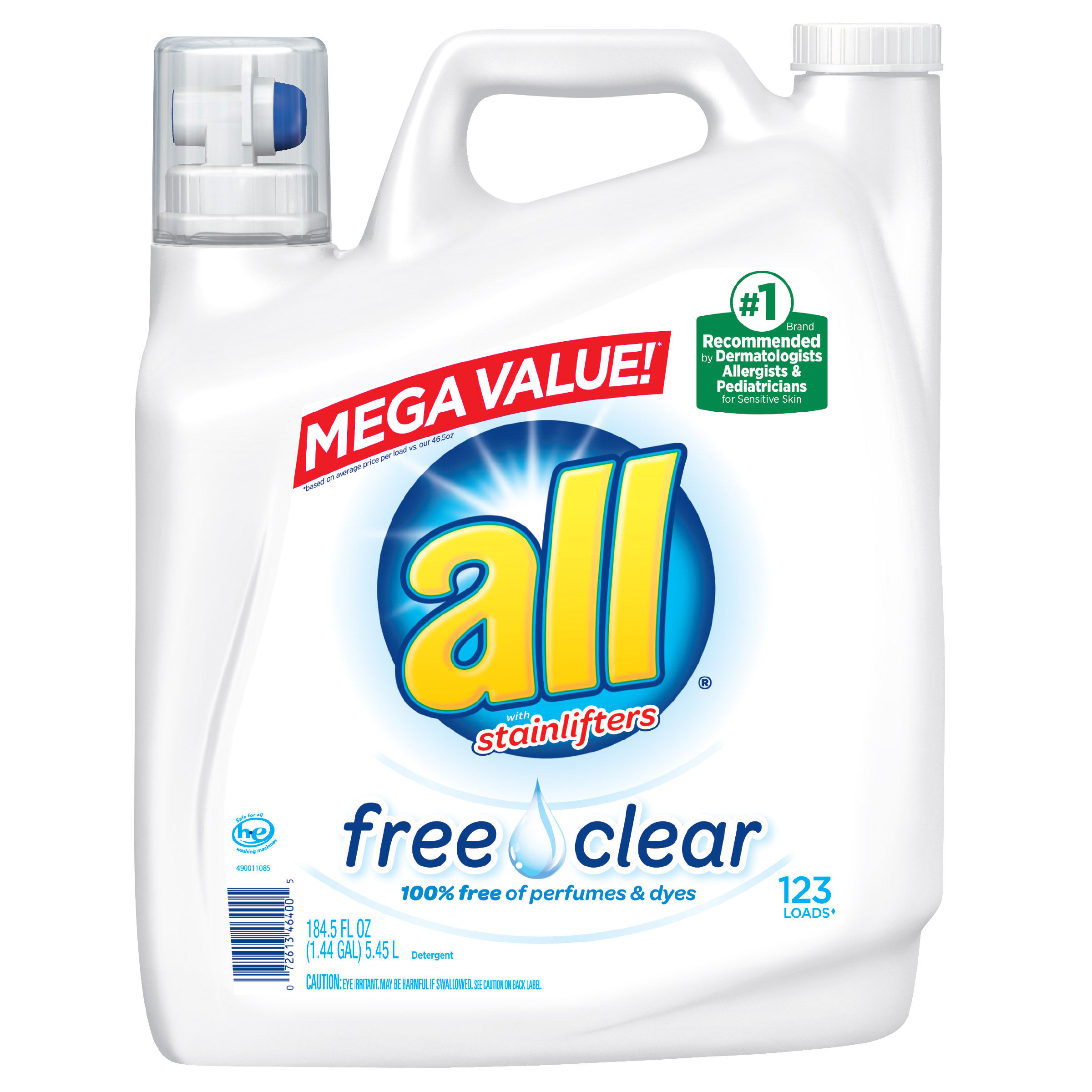 all with Stainlifters Free Clear Liquid Laundry Detergent, 123 Loads, 184.5 Oz