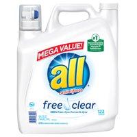 all Liquid Laundry Detergent Free & Clear for Sensitive Skin, 184.5 FL Oz, 123 Loads