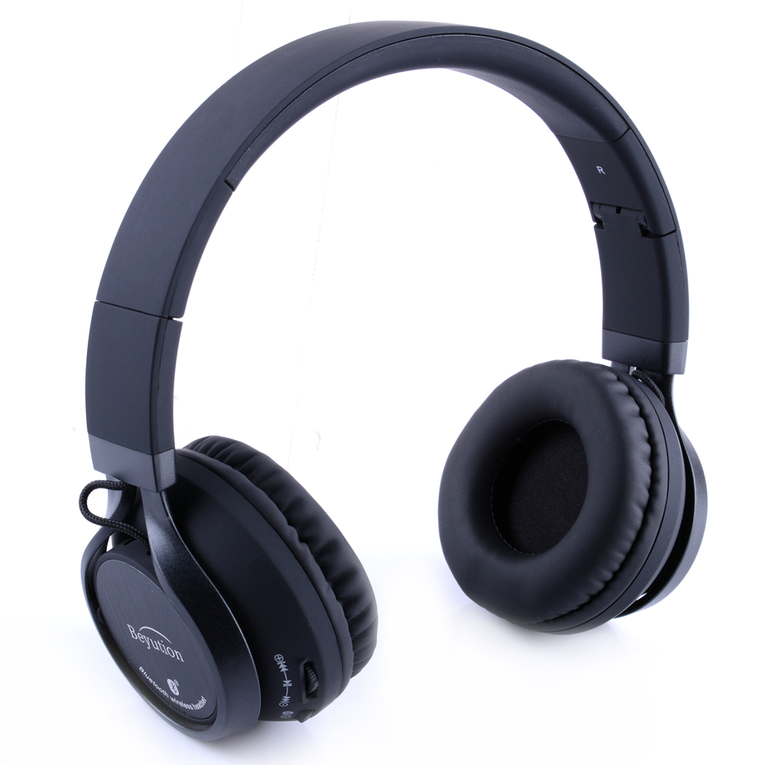 Beyution Black Metal Wireless Bluetooth Headsets Over Ear Bluetooth Headphones with Mic fit for Samsung Smart Phones and all tablet Laptop with Bluetooth Funcstion (BT525-Black-Metal)