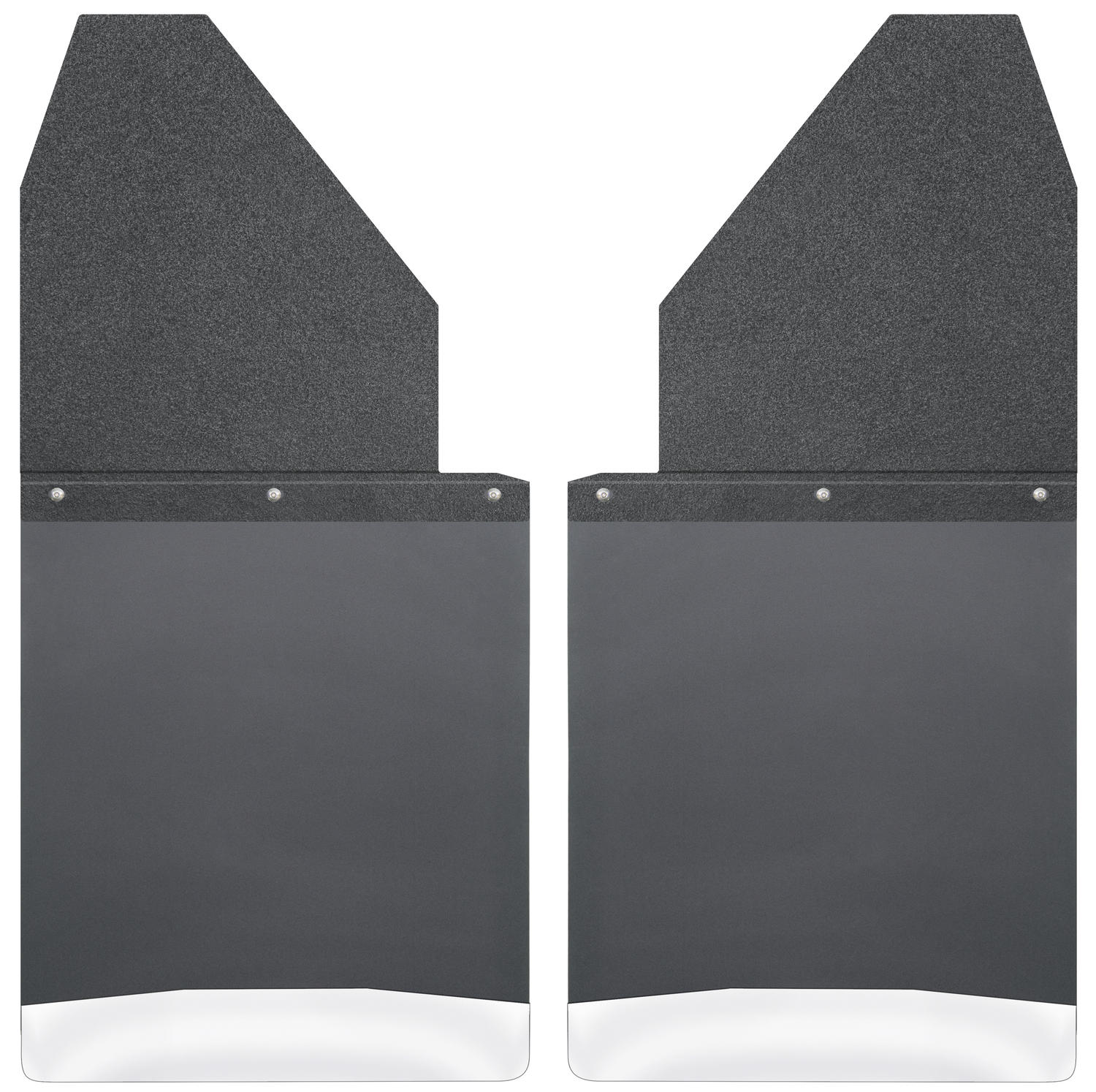 Husky Liners Kick Back Mud Flaps 14IN - Black Top/SS Wt Fits Silv/F150/Ram
