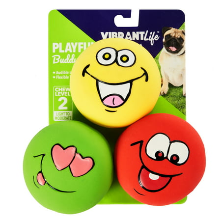 Vibrant Life Playful Buddy Emoticon Dog Chew Toy, Medium, 3 (Dog Toys That Help With Separation Anxiety)