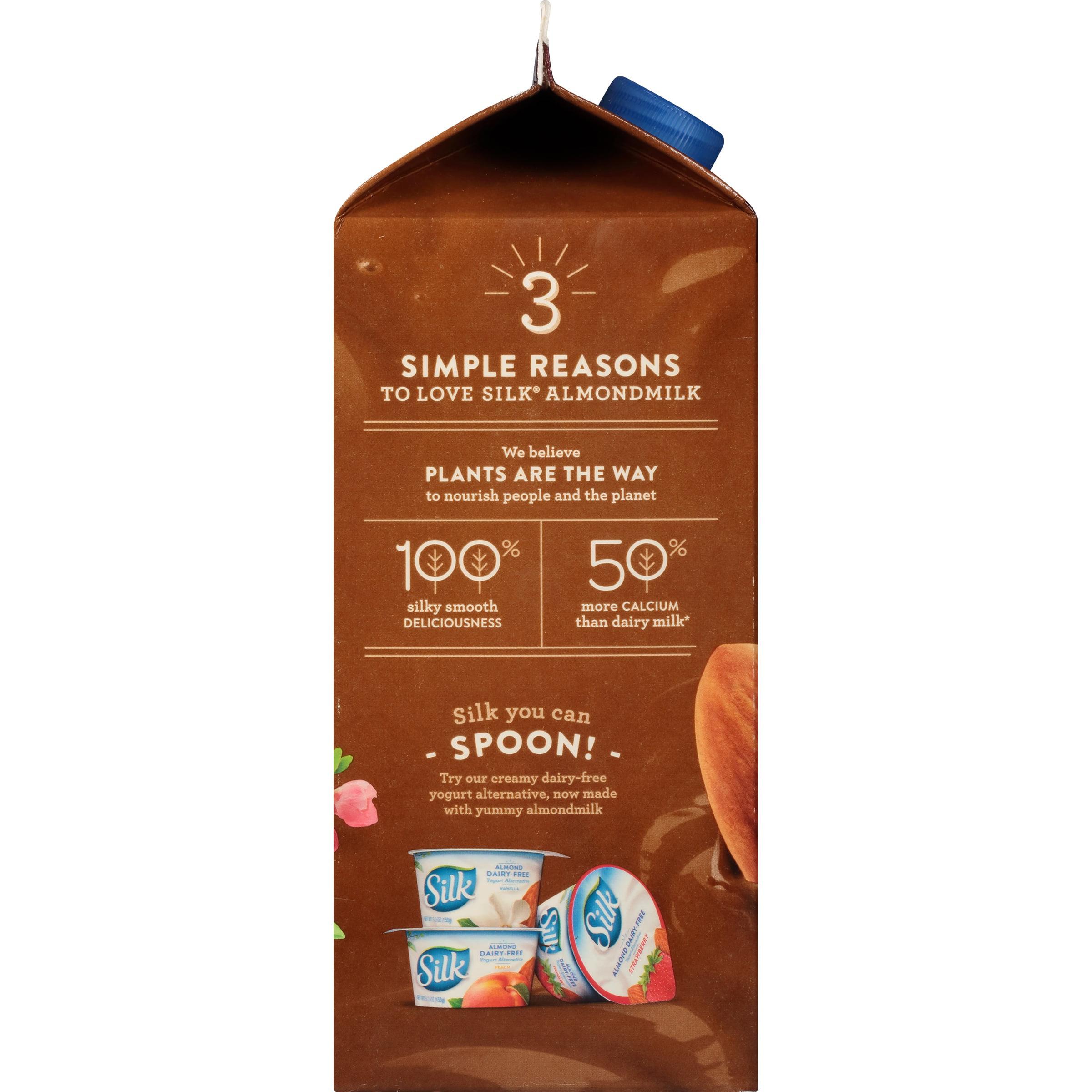 Silk Almond Dark Chocolate Non-Dairy Almondmilk, Half Gallon ...