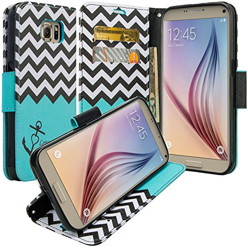 Samsung Galaxy S7 Edge Case - Wydan Wallet Leather Credit Card Flip Book Style Folio Kicktand Feature Cover w/ Wrist Strap Anchor - Mint Green