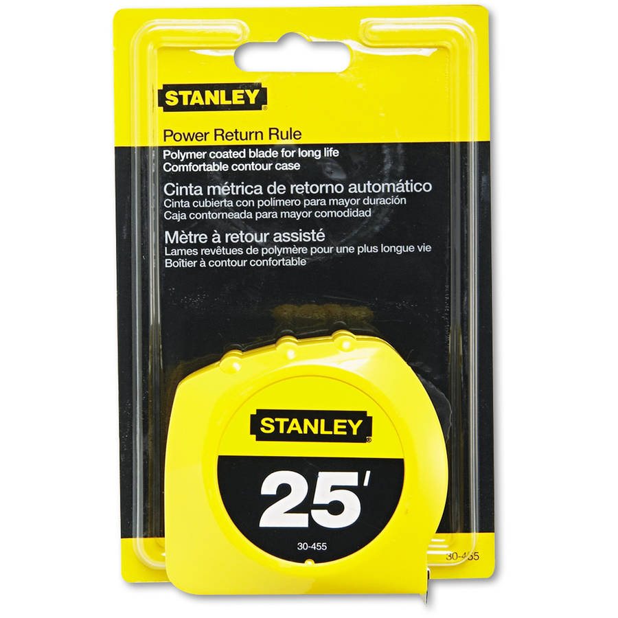"Stanley Bostitch Power Return Tape Measure, 3-Way Reading Blade, 1""W x 25', Yellow"